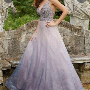 Jeweled Ombré Glitter A Line Prom Dress